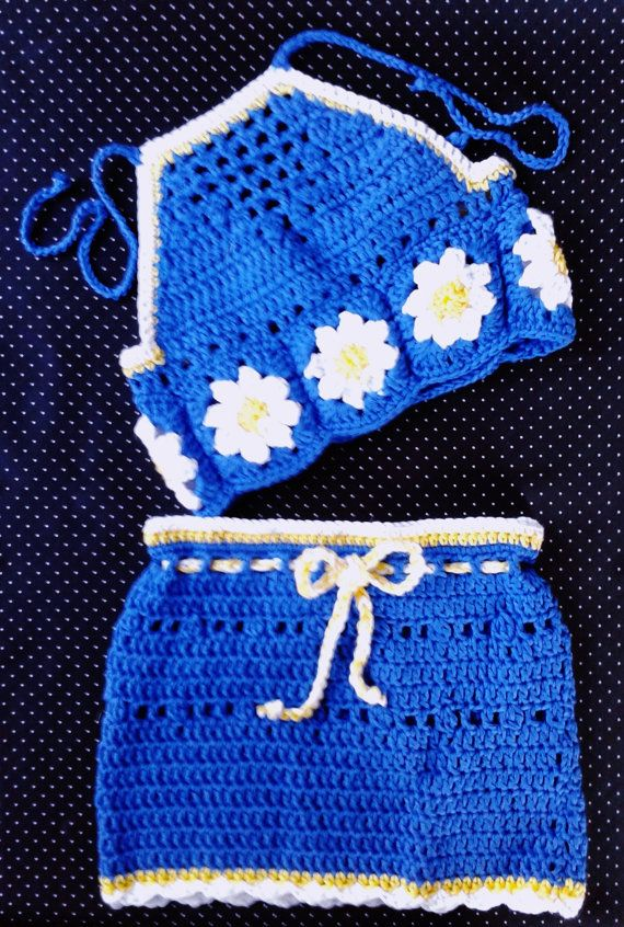 Daisy Halter Top & Skirt by LittleGypsyRoseBoho on Etsy