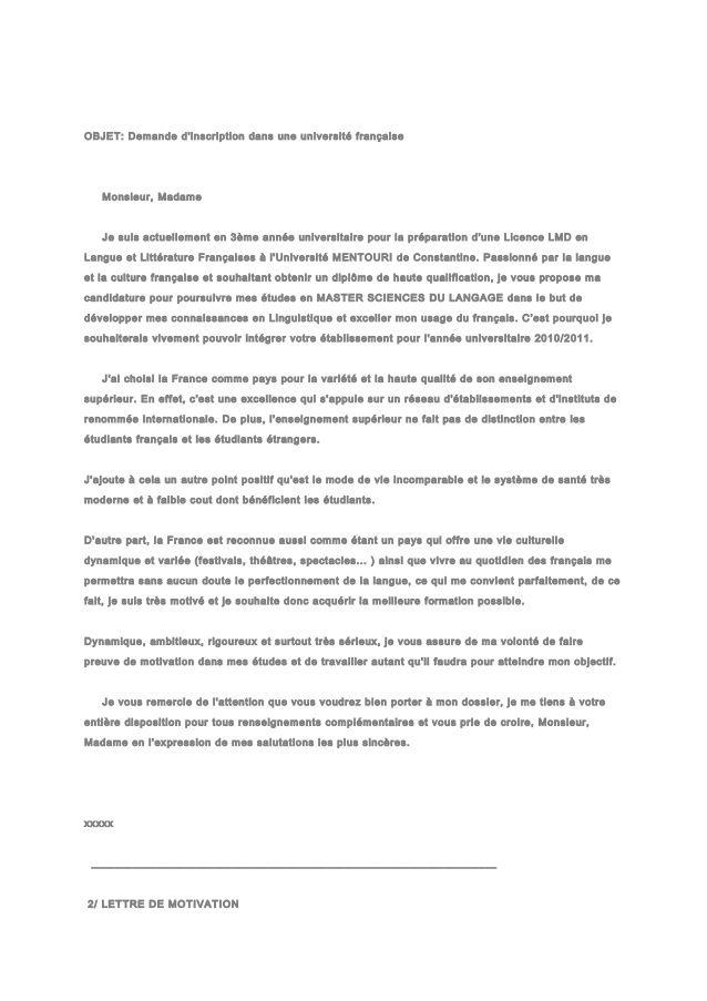 Objet Demande D Inscription Dans Une Universite Francaise Monsieur Madame Je Suis Actuellement En 3 Curriculum Vitae Template Curriculum Vitae Good Company