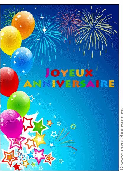 Carte Joyeux anniversaire multicolor pour envoyer par La Poste, sur Merci-Facteur !