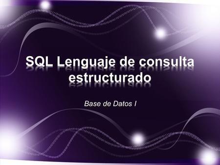 Base de Datos I. SQL es el lenguaje estándar para trabaja con base de datos relacionales. MySQL, el sistema de gestión de bases…