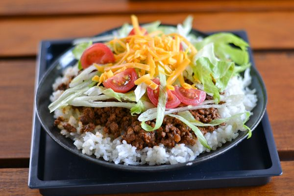 Taco Rice....Made this and the kids loved it. A taco on top of rice. What's not to love? A definite keeper.