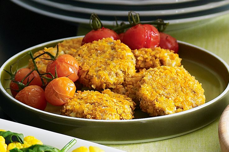 Serve these tasty fritters with truss tomatoes for a healthy, low-fat lunch.