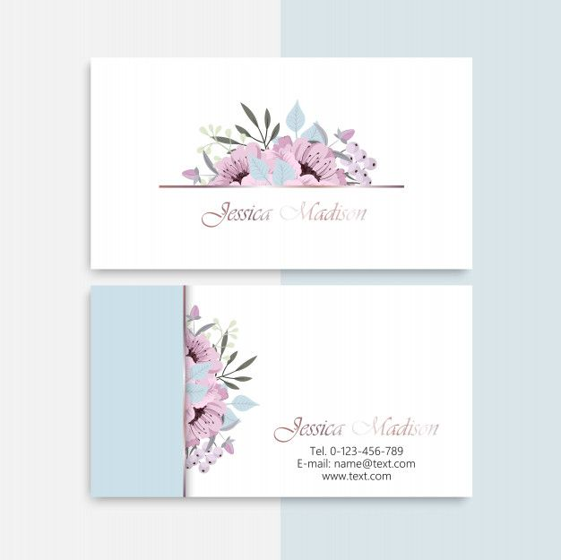 Business Card With Beautiful Flowers Name Card Design Cards Business Cards