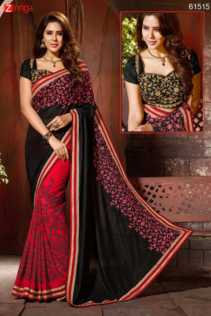 Deep Scarlet & Black Color Saree With Nice-looking Fancy Pallu. Click here for more details www.zinnga.com