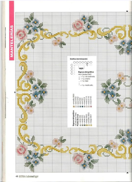 Cross Stitch Pattern Table Cloth Kanaviçe Masa Örtüsü Etamin