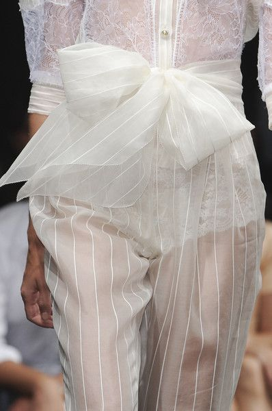 Sheer trousers with self-tie bow belt; delicate fashion details // Francesco Scognamiglio Spring 2010