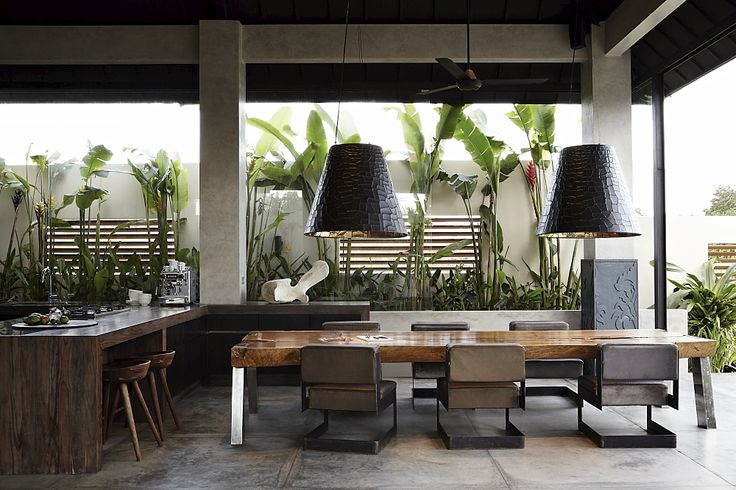 Outdoor diningroom with all furniture designed by Osiris Hertman, made by local artisans in Bali, Indonesia.