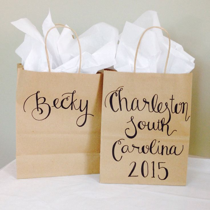 Bridesmaid Gift Bag ~ Bridal Party Gift Bag ~ Bachelorette Party Name Modern Calligraphy Gift Bags ~ Girls Weekend Bag by FancyPrintsAC on Etsy https://www.etsy.com/listing/224678683/bridesmaid-gift-bag-bridal-party-gift