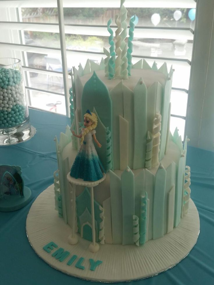Frozen Castle Cake With A Platform For Elsa Chocolate