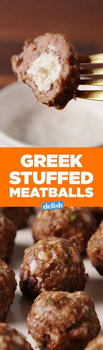 The inside of these Greek Stuffed Meatballs is straight up sexy. Get the recipe from Delish.com.