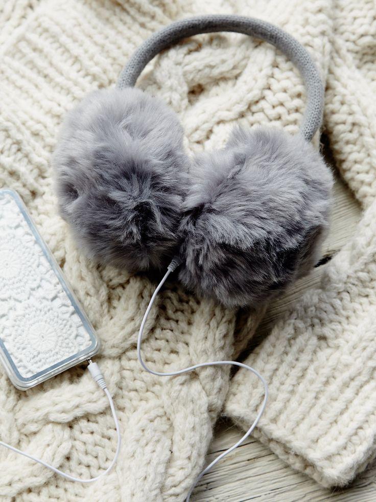 Earmuff headphones fluffy gray fur