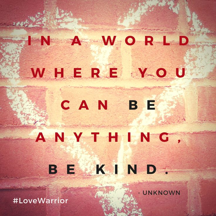 What is kind? Well, we look at the first three letters and see: KIN. Kind is when we treat each other like family. Because that is what is what we are. Family. We belong to each other. http://lovewarriorbook.com/