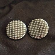 Black & Grey Herringbone Button Clip On Earrings - Vintage / Retro 80's