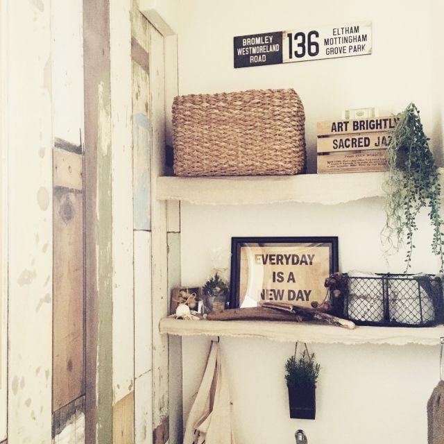 バス/トイレ/フェイクグリーン/壁紙/いなざうるす屋さん/フェイク/DIY…などのインテリア実例 - 2016-03-01 19:31:31 | RoomClip(ルームクリップ)