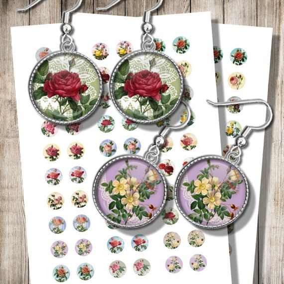 Roses and Laces Printable Earrings Images Digital Collage