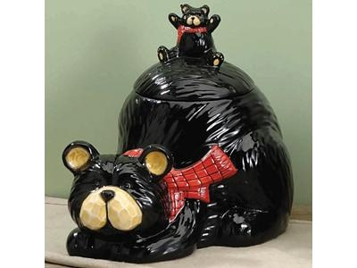 Ceramic Bear & Cub Cookie Jar