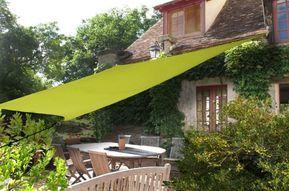 voile d'ombrage rectangulaire toile ombre verte amenagement terrasse jardin