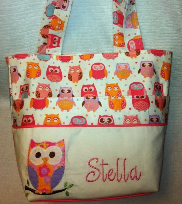 Personalized Baby Bag / Tote with Appliqued Owl.