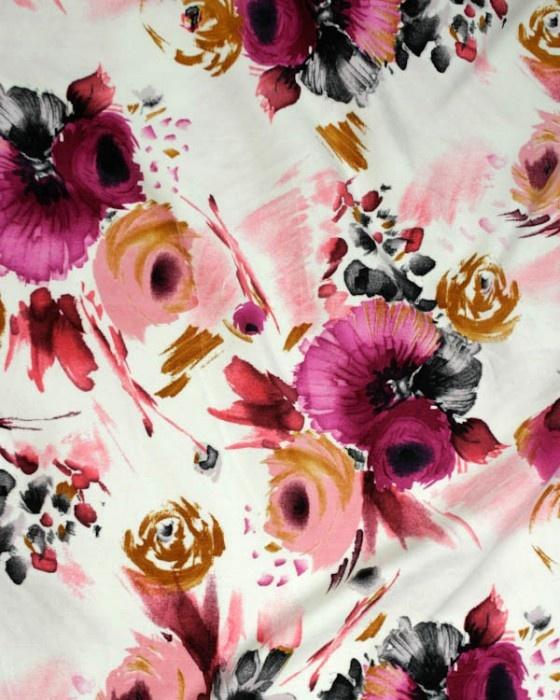 Cotton Velvet Print   Pink Floral   Truro Fabrics