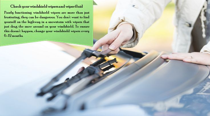 Change your washer fluid and windshield wipers  Make sure you can see! Buy a good washer fluid with an antifreeze solution. For especially harsh climates, you may also want to pick up a set of winter wipers that protect the wipers' mechanism.  #allweathertyres