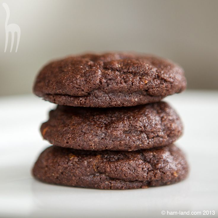 Chewy Chocolate Orange Cookies stack of three