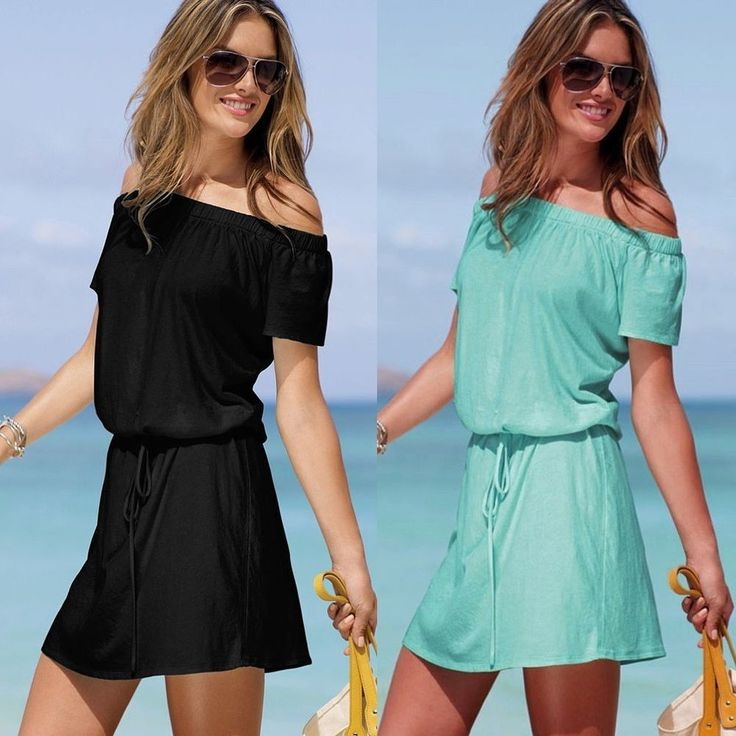 NEW! SEXY OFF-THE-SHOULDER TEE DRESSES BELTED TUNIC TOPS BEACH SUNDRESS -XS,S,M- --------Now on Sale for US$19.99!! ----------Please Click The Photo to see details!!