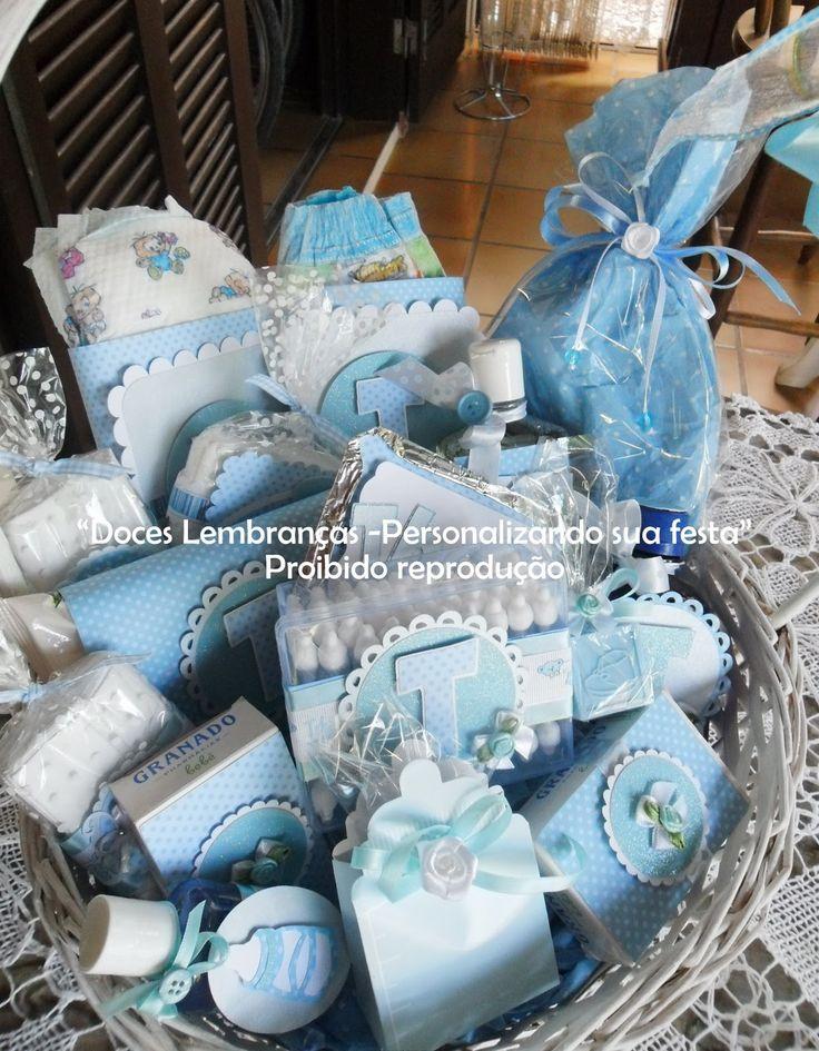 Doces Lembranças Festas Personalizadas: Cesta de boas vindas Bebê menino