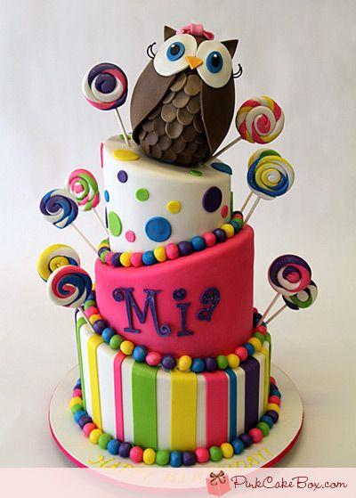 Topsy Turvy Owl Candy Cake