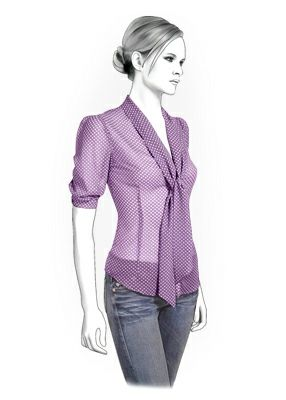 Blouse - Sewing Pattern #4286. Made-to-measure sewing pattern from Lekala with free online download.