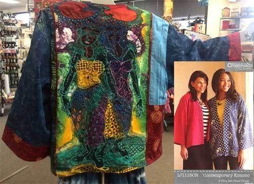 Kimono jacket made with Batik Panel at Artistic Artifacts.