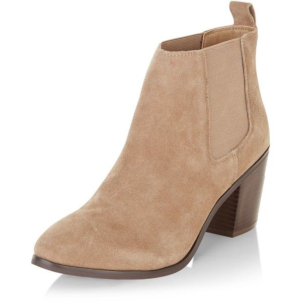 New Look Light Brown Leather Block Heel Ankle Boots (76 CAD) ❤ liked on Polyvore featuring shoes, boots, ankle booties, heels, light brown, leather bootie, short boots, leather booties, block heel boots and heeled booties