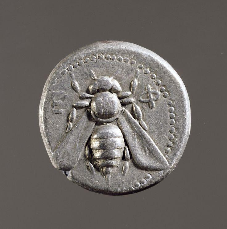 Tetradracma - argento - Efeso, Ionia, (Turchia) (ca.390-300 a.C.) - Ε-Φ ape, sacra alla dea Artemide - The Paul Getty Museum