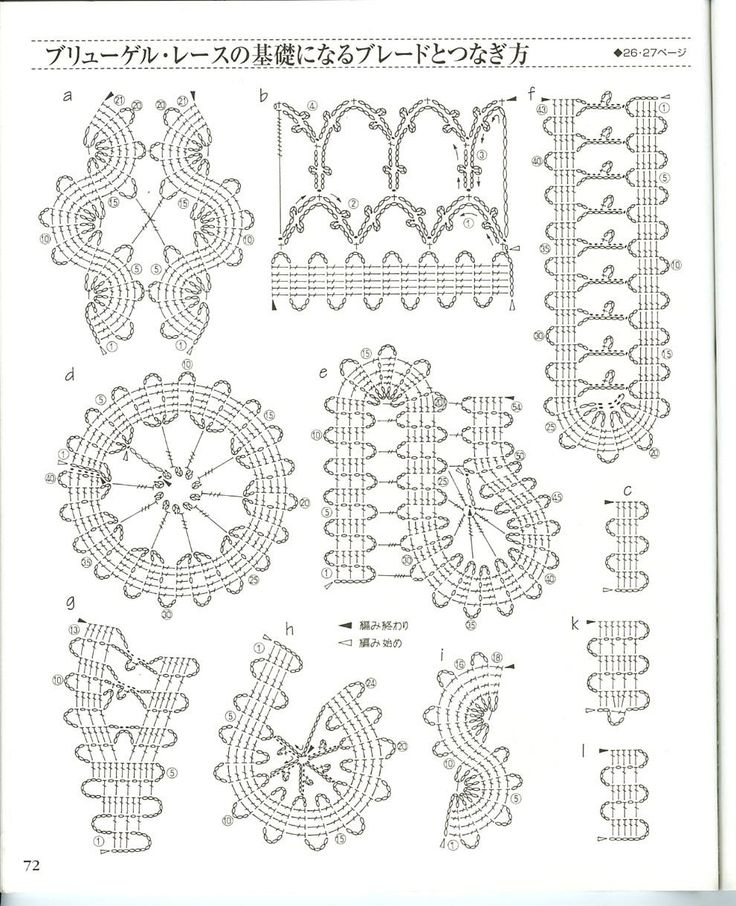 Various joining diagrams for Bruges Lace