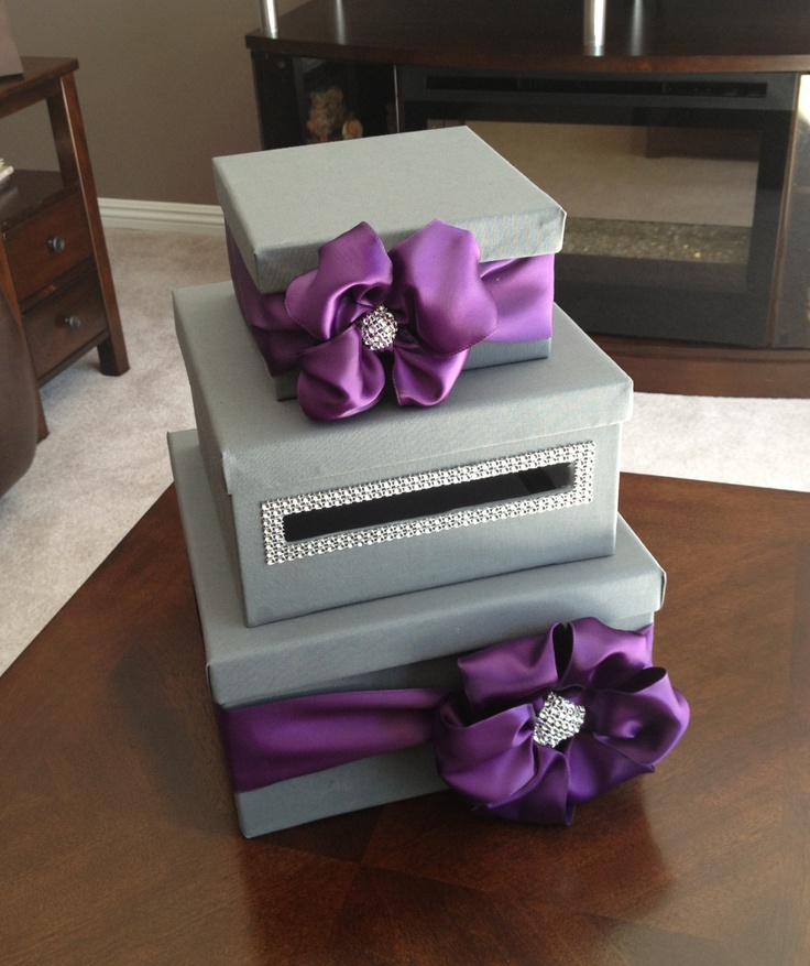 Grey & Purple - Homemade Card Box! @Colleen Howe  you can make this for me :)