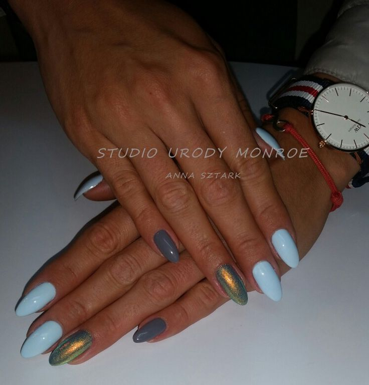 Błękit szarość i syrenka, manicure hybrydowy