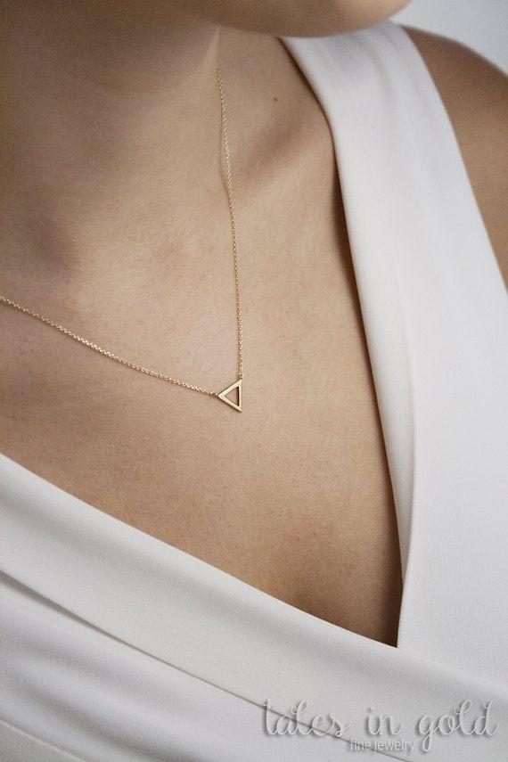 Gold Necklace Triangle Pendant 14 Karat Gold Minimal Jewelry Charm Necklace Triangle Necklace Gold C Simple Necklace Triangle Necklace Geometric Necklace