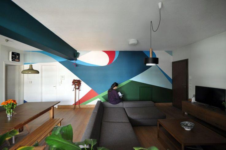 Διαμέρισμα στο Χολαργό: Άποψη του γραφιστικού τοίχου.