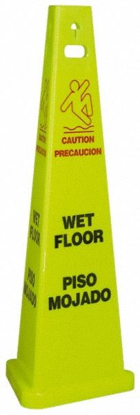 "Floor Sign, WET FLOOR, ENGLISH/Spanish, 40"" TALL, 3/CS"