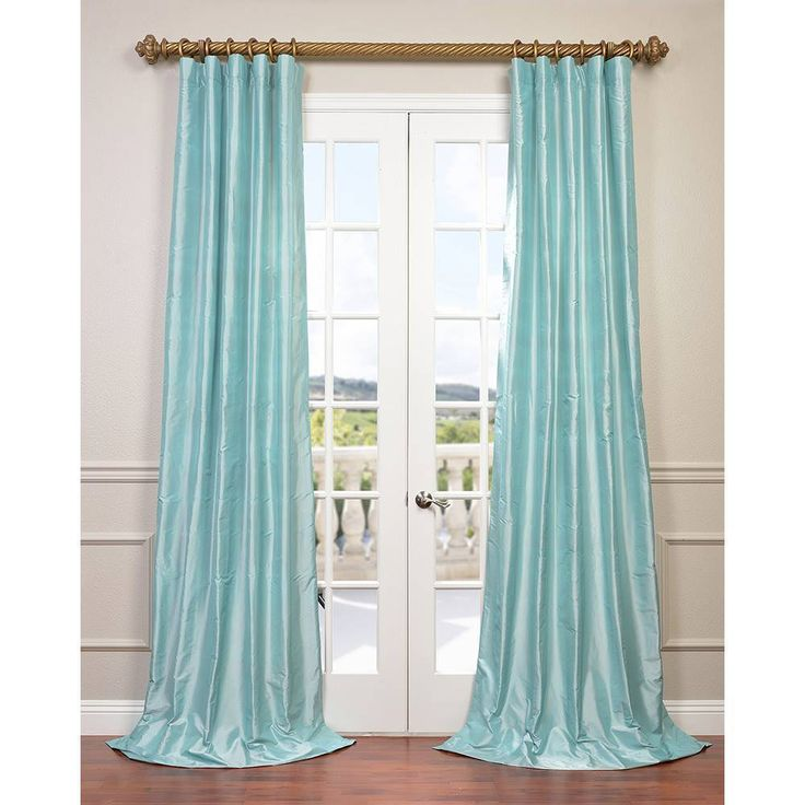 Exclusive Fabrics Dupioni Silk Curtain Drapes (French Ivory – 96 Inches – 50 x 96), Beige