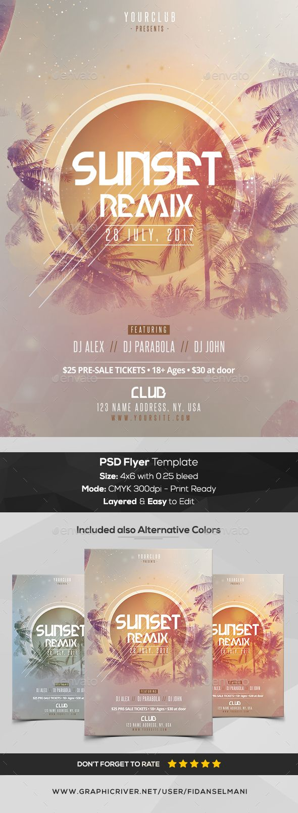 Sunset Remix - PSD Flyer Template - #Flyers Print #Templates Download here: https://graphicriver.net/item/sunset-remix-psd-flyer-template/20385551?ref=alena994