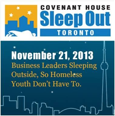 On November 21, 2013, business leaders are sleeping outside, so homeless youth don't have to. www.executivesleepout.ca