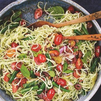 We love King Soba noodles on the Clean team and could easily find hundreds of uses for them. This is a delicious Mediterranean-flavored version of a noodle bowl, quick and easy, and perfect for those meals you need to have on the table as fast as possible.