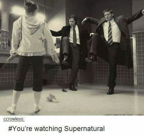This week on Supernatural... Sam and Dean try to do karate moves at a pair of ballerina shoes on the little girl's feet. Keyword: /try/