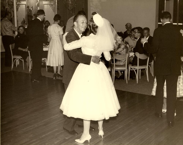 Walt Disney and daughter, Sharon, dance on the day of her wedding to Robert Brown. May 10, 1959.  ~~  (From WaltDisneyLand on Facebook.)