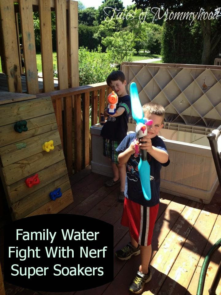 Have a water fight with NERF super soakers to keep cool on a hot day!
