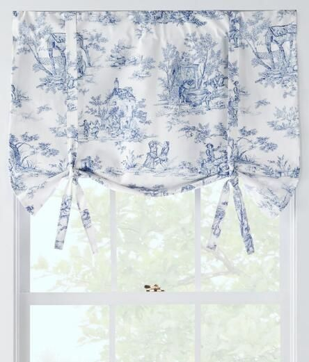 Pastoral French Country Themes Are Elegantly Played Out On Our Toile.  (Country Curtains Lenoxdale Toile Tie Up Valance)