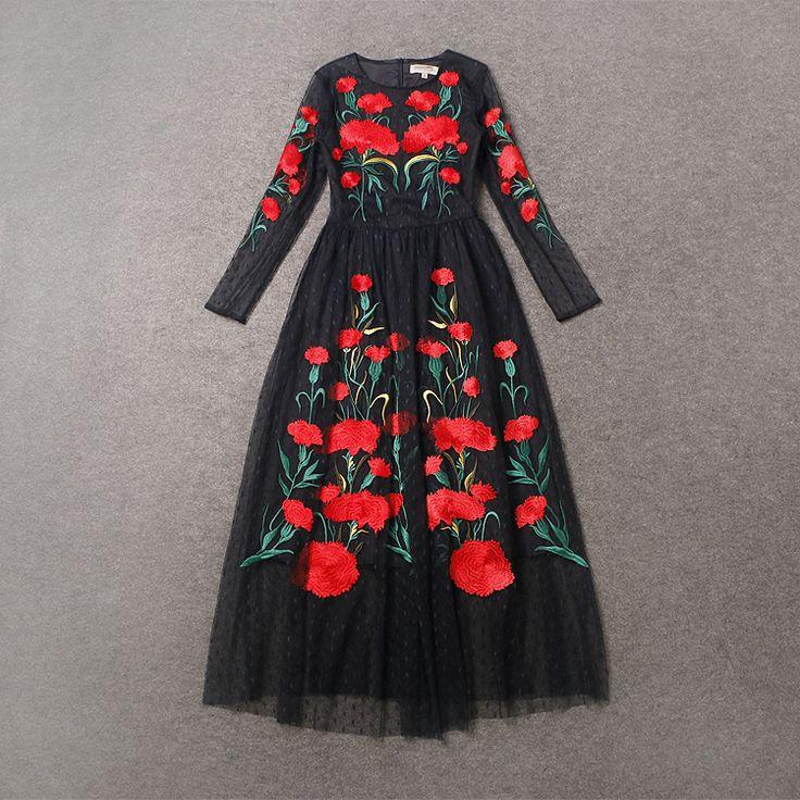 Найти ещё Платья Сведения о 2015 новая коллекция весна взлетно посадочной полосы длинное платье женская винтаж черный с длинным рукавом полное кружева красная гвоздика цветок вышивка марли платье выпускного вечера, высокое качество набор для вышивания крестом, Китай вышивка платья поставщиков, Бюджетный платье шляпы для церкви от True на Aliexpress.com