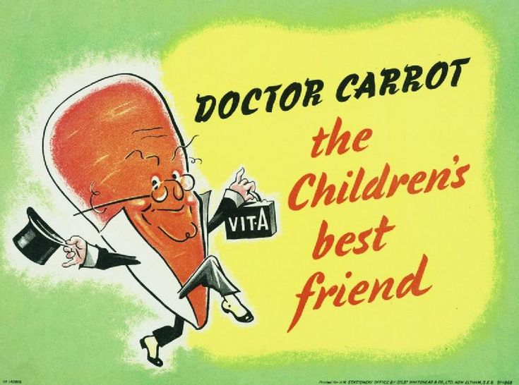 Dr. Carrot - British poster promoting the use of carrots, one of the few foods in surplus in WWII England.