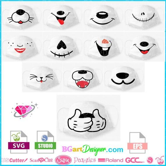 Instant Download Creative Bundle 12 Designs For Kids Face Etsy In 2020 Mask For Kids Face Masks For Kids Mask Design
