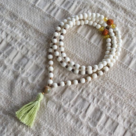 White Wood Mala Beads